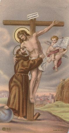 St. Francis embraces the crucified Christ