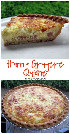 Ham and Gruyere Quiche Recipe - ham cheese eggs milk and sour cream. We love to eat this quiche for dinner. You can freeze unbaked for a quick breakfast/dinner. Ham Quiche, Ham And Cheese Quiche, Breakfast Quiche, Quiche Recipes, Breakfast For Dinner, Breakfast Dishes, Brunch Recipes, Breakfast Recipes, Snacks