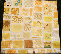 """Gone Aussie Quilting: Yellow Mosiac Block"" from her mosaic scrap quilt. Neat. Again, I love her fabrics."