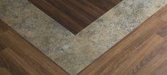 Parterre Luxury Vinyl Plank | InGrained: Honey Mesquite 11864; Ebony Walnut 11310 | mixed with Parterre Luxury Vinyl Tile | HardCore: Scrapyard, Metallic 76340