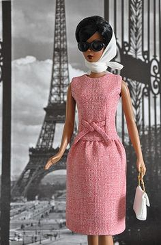 117-3. Jackie Kennedy Day Rose Dress for Silkstone dolls