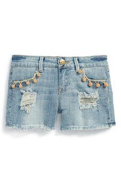 Vintage Havana Pompom Denim Cutoff Shorts (Big Girls) | Nordstrom