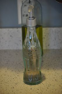 Soap dispenser made from a used glass coke bottle