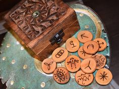 Witches Runes Set 13 Wooden Runes with Hand Carved by TheNorseWind