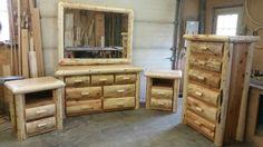 Beautiful cedar log dresser set