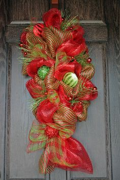 Red and Green Christmas Deco Mesh Swag by AdornedLivingDesigns