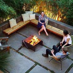 Backyard Layout, Backyard Seating, Backyard Patio Designs, Modern Backyard, Garden Seating, Diy Patio, Backyard Landscaping, Landscaping Ideas, Patio Bench