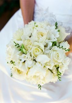 White wedding flower bouquet, bridal bouquet, wedding flowers, add pic source on comment and we will update it. www.myfloweraffair.com can create this beautiful wedding flower look.