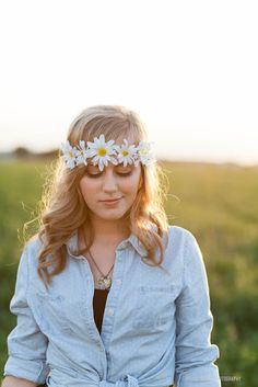 sunny field with daisy headband, dreamy!