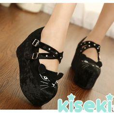 Cute Cat Face Velvet Platform Shoes from Kiseki