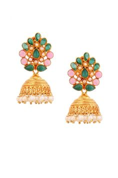 Silver Small Green Crystal and Pearl Jhumki Earrings