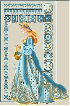 "beautiful alt colors for lavender and lace ""summer"" celtic lady - has color substitutions for threads #crossstitch #pattern"