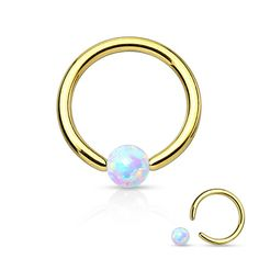 Gold Fire Opal White Captive Hoop Cartilage 16ga Tragus Body Jewelry Helix Piercing Jewelry