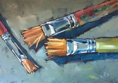 "Daily Paintworks - ""STUDIO BRUSHES"" - Original Fine Art for Sale - © Tom Brown"