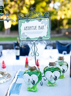 Absinthe theme wedding, art nouveau typography, green, table cards