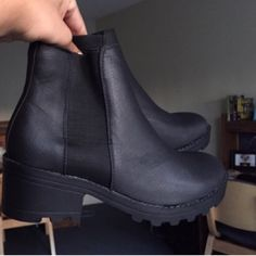 Chelsea Chunky Black Boots  reselling these boots! The previous owner had worn them only 3 times (pretty decent condition) and they are super comfortable with a stylish heel. These boots are so cute! Reselling because they're a bit big on me ASOS Shoes