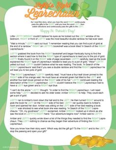St Patricks Day Left / Right Pass the Presents Story Game for your party.... Click Here to get all set for St Patty's Day!