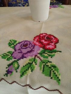 Beautiful flower on the table clothes #crossstitch #table #house #flowers