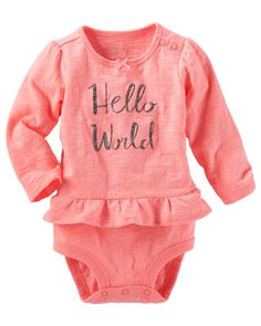 Baby Girl Ruffle-Hem Double-Decker Bodysuit from OshKosh B'gosh. Shop clothing & accessories from a trusted name in kids, toddlers, and baby clothes.