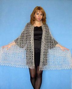 Бежевый ажурный Палантин(шарф) из натурального козьего пуха - палантин ручной работы, оренбургский палантин