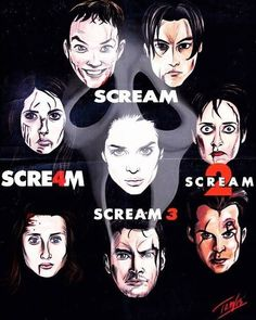 Horror Movie Posters, Movie Poster Art, Scream Franchise, Ghostface Scream, Scream Movie, Horror Photos, Ghost Faces, Classic Horror Movies, We Movie