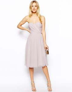 Buy ASOS Bandeau Dress In Midi Length at ASOS. Get the latest trends with ASOS now. Asos Bridesmaid, Neutral Bridesmaid Dresses, Bridesmade Dresses, Grey Bridesmaids, Blush Dresses, Strapless Dress Formal, Formal Dresses, Midi Dresses, Bandeau Dress