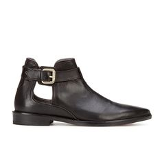 H Shoes by Hudson Women's Karo Leather Pointed Toe Ankle Boots - Black
