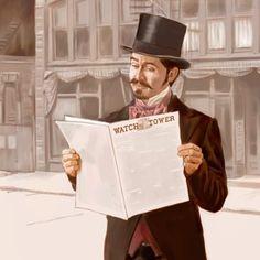Un hombre leyendo el primer número de La Atalaya en 1879.