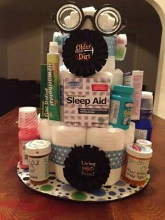 Over the hill diaper cake