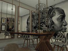 Projeto 3D  Mostra Dcasa 2016   Site www.renatavaleiro.com  Sala de Jantar Afro  Projeto arqta Renata Valeiro