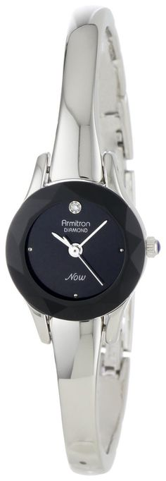 Armitron Women's 75/2433BLK Diamond-Accented Silver-Tone Bangle Watch ** Click image for more details.