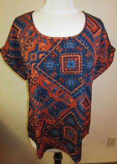 LUCKY BRAND Wm's Size Small S/S Summer Nights Top Colorful Design $49.50 NWT #LuckyBrand #Blouse #Multi