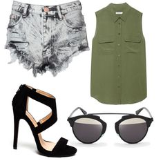 Untitled #78 by evanmonster on Polyvore featuring polyvore fashion style Equipment Glamorous D-ID