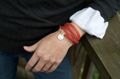 Five Wrap Red Leather and Zebra Stripe Fine by roundhousejewelry, $54.00