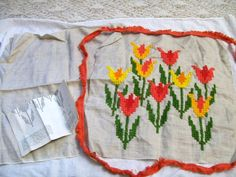 Vintage Floral Crewel Embroidery, Tulip Pillow Cover, Needlework, Yellow & Orange Flowers