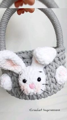 DIY your own easter basket with sweet bunny for boy and for girl. Natural from cotton cord. Easter home decoration ever! For kids for sweets and chocolatte eggs 🙂 Etsy Crafts, Home Crafts, Crochet Baskets, Easter 2021, Easter Crochet, Kids Decor, Etsy Jewelry, Easter Baskets, Childcare