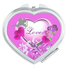 Love Cupid Hearts &Flowers Pink Compact Mirror by #MoonDreamsMusic #PinkCompactMirror #Hearts&Flowers #Love&Cupid #ValentinesDay #WomensAccessories