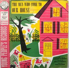 """The Men Who Come to Our House 78 Record - Young People's Records [found at GW in 33 1/3 and includes St. Saens Carnival of the Animals - cover art signed """"AJAY"""" is Abe Ajay"""