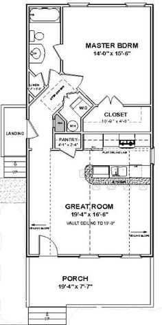 Custom Tiny House Home Plans Narrow 1 Bed Cottage 800 Sf Pdf Full Permit S - Woodstone 1 Bedroom House Plans, Guest House Plans, Small House Floor Plans, Cabin Floor Plans, Tiny Cottage Floor Plans, Shotgun House Floor Plans, Guest Cottage Plans, Tiny Cabin Plans, 20x30 House Plans