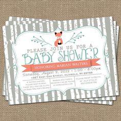 abedul árbol zorro bebé ducha invitación por freshlysqueezedcards