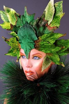 MADE TO ORDER Peter Pan Fairy Nymph Goddess Headdress leaf mask leaves fall october halloween tinker bell peter pan costume