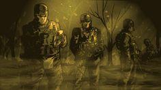 """Солдаты готовятся к патрулированию на территории, контролируемой противником. """"Каждый объясняет страх разными способами"""" - говорит Гроссман. Darth Vader, War, Fictional Characters, Fantasy Characters"""