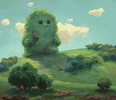 Sweet leafy giant creature and a little boy. (Artist: Zac Retz.)