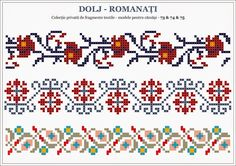 Romanian pattern from Dolj county Folk Embroidery, Cross Stitch Embroidery, Embroidery Patterns, Beading Patterns, Crochet Patterns, Knitting Patterns, Cross Stitch Borders, Cross Stitch Charts, Cross Stitching