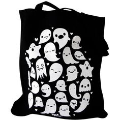 GHOST Tote Bag - Kawaii Ghosts Totebag Purse ($12) ❤ liked on Polyvore featuring bags, handbags, tote bags, accessories, bolsas, black tote bag, black tote purse, handbags & purses, tote hand bags and black tote