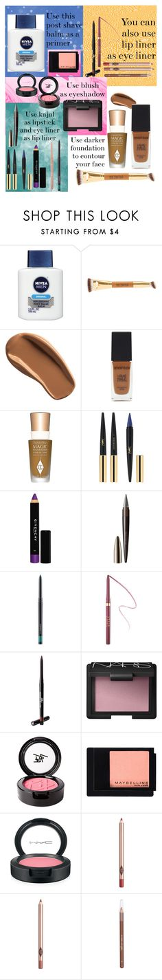 """""""Beauty tips and tricks: 1 products, 2 ways 👄💕💖"""" by stellastar22 ❤ liked on Polyvore featuring beauty, Nivea, Ellis Faas, Smashbox, Charlotte Tilbury, Yves Saint Laurent, Givenchy, Laura Mercier, MAC Cosmetics and Stila"""