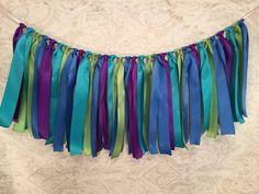 Satin Ribbon Garland/Peacock Fabric Garland/Strip Tie Garland/Tassel Garland/Peacock Wedding Decor/Peacock Banner/Peacock Garland