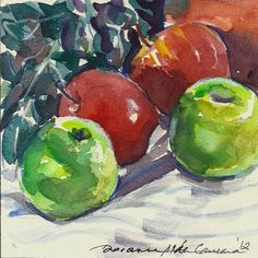Apples still life original miniature one of a kind watercolour by collectable and 'blue chip' portfolio artist Doranne Alden