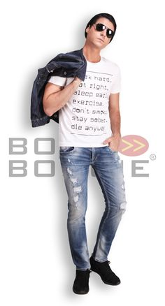 Random Inspiration Tee + Denim Jacket + Ripped Jeans