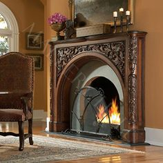 Arched Mahogany Fireplace Surround